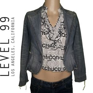 Level 99 Denim Cropped Jean Blazer Size S